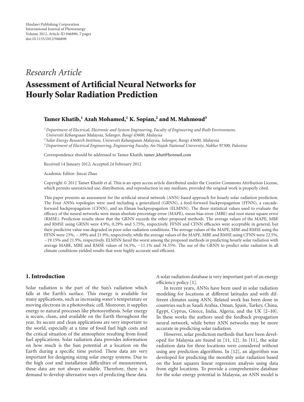 Assessment Of Artificial Neural Networks For Hourly Solar Radiation Prediction Topic Of Research Paper In Electrical Engineering Electronic Engineering Information Engineering Download Scholarly Article Pdf And Read For Free On Cyberleninka