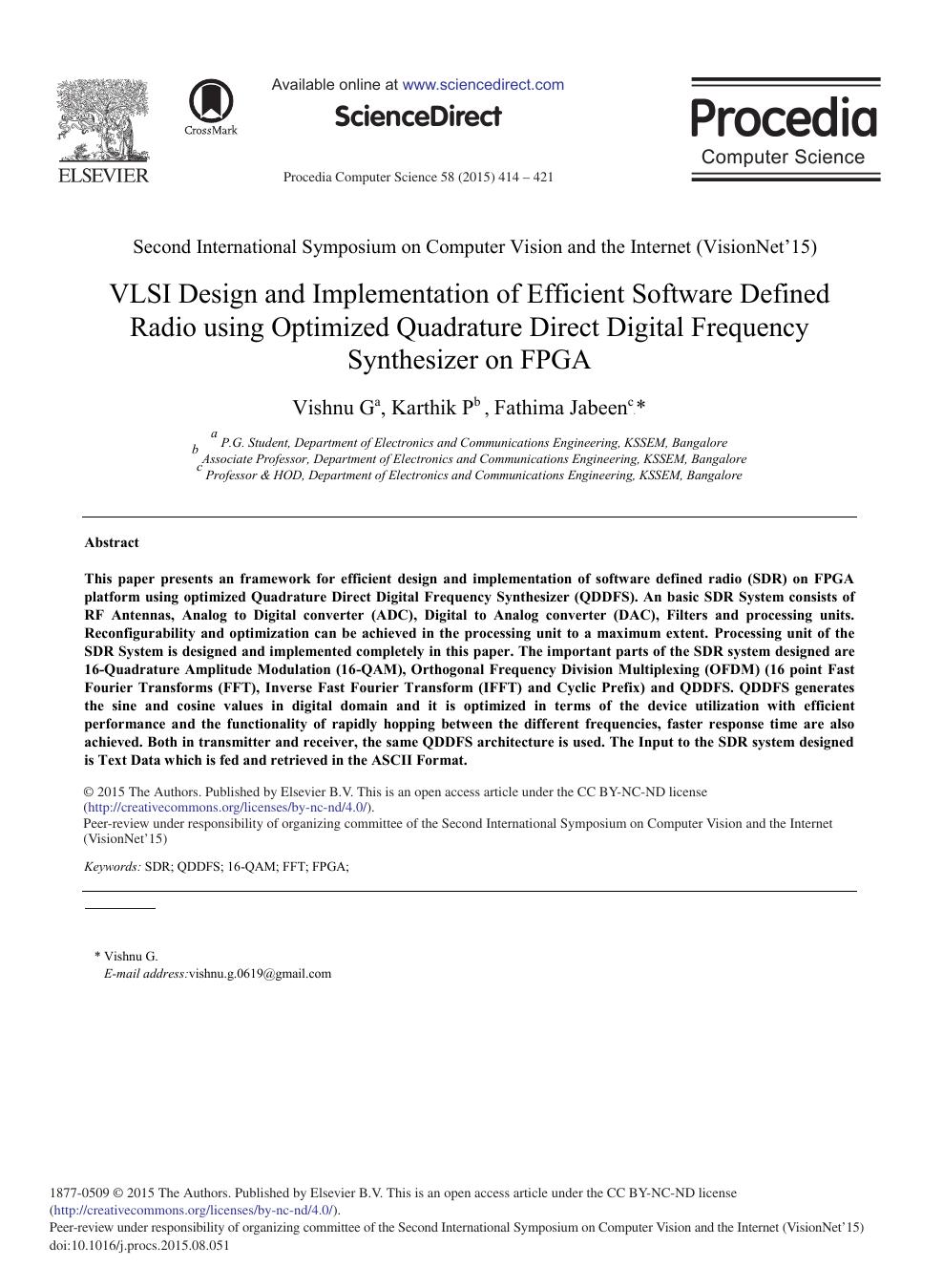 VLSI Design and Implementation of Efficient Software Defined Radio