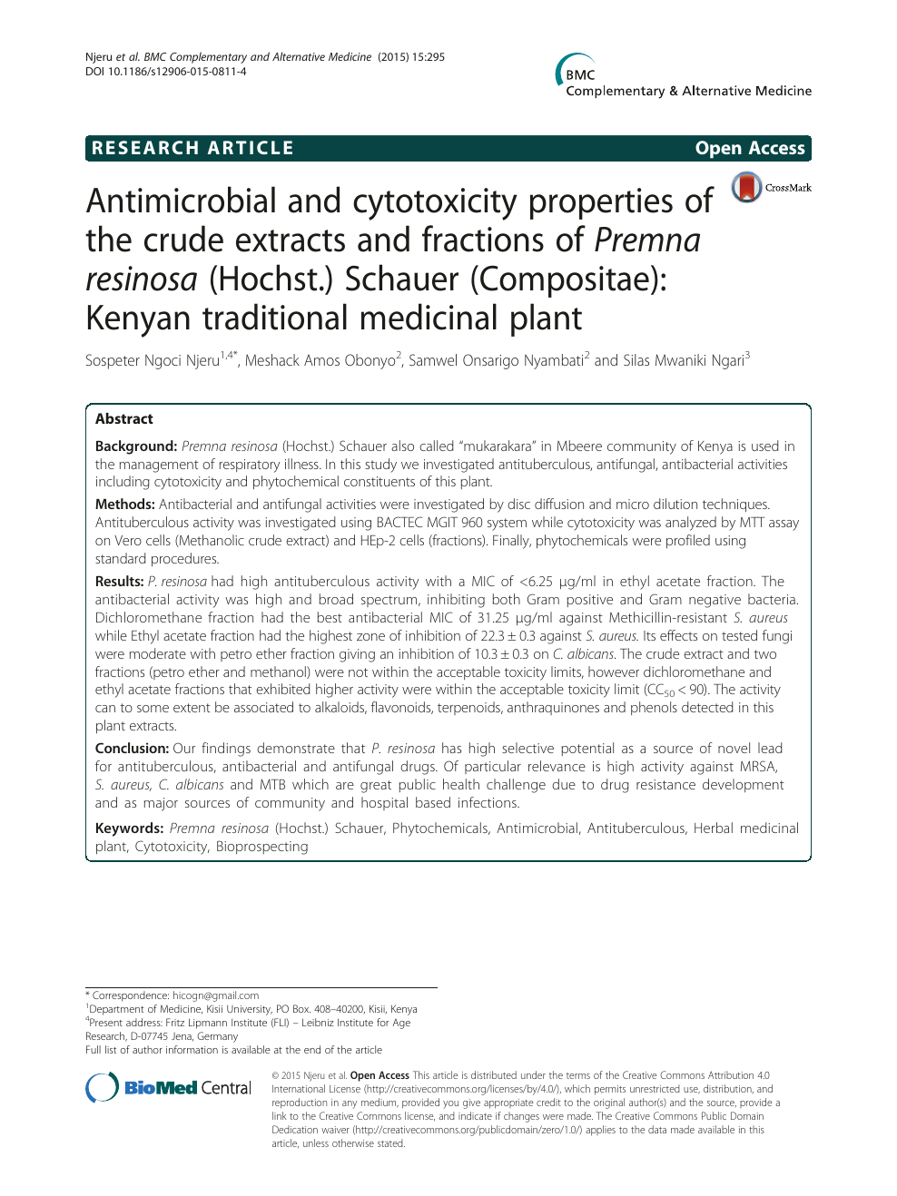 Antimicrobial and cytotoxicity properties of the crude
