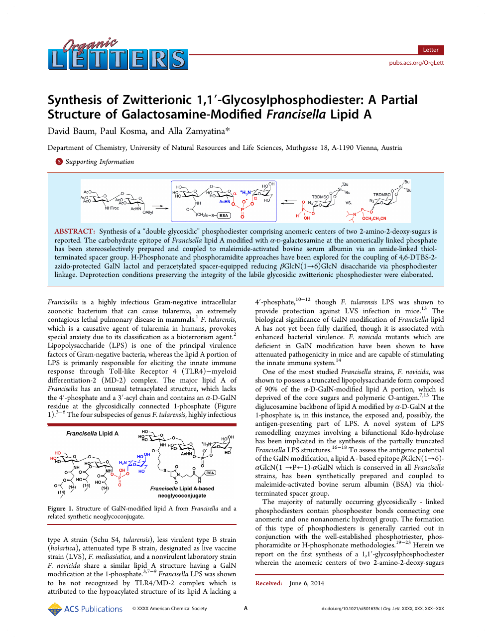 Synthesis of Zwitterionic 1,1′-Glycosylphosphodiester: A