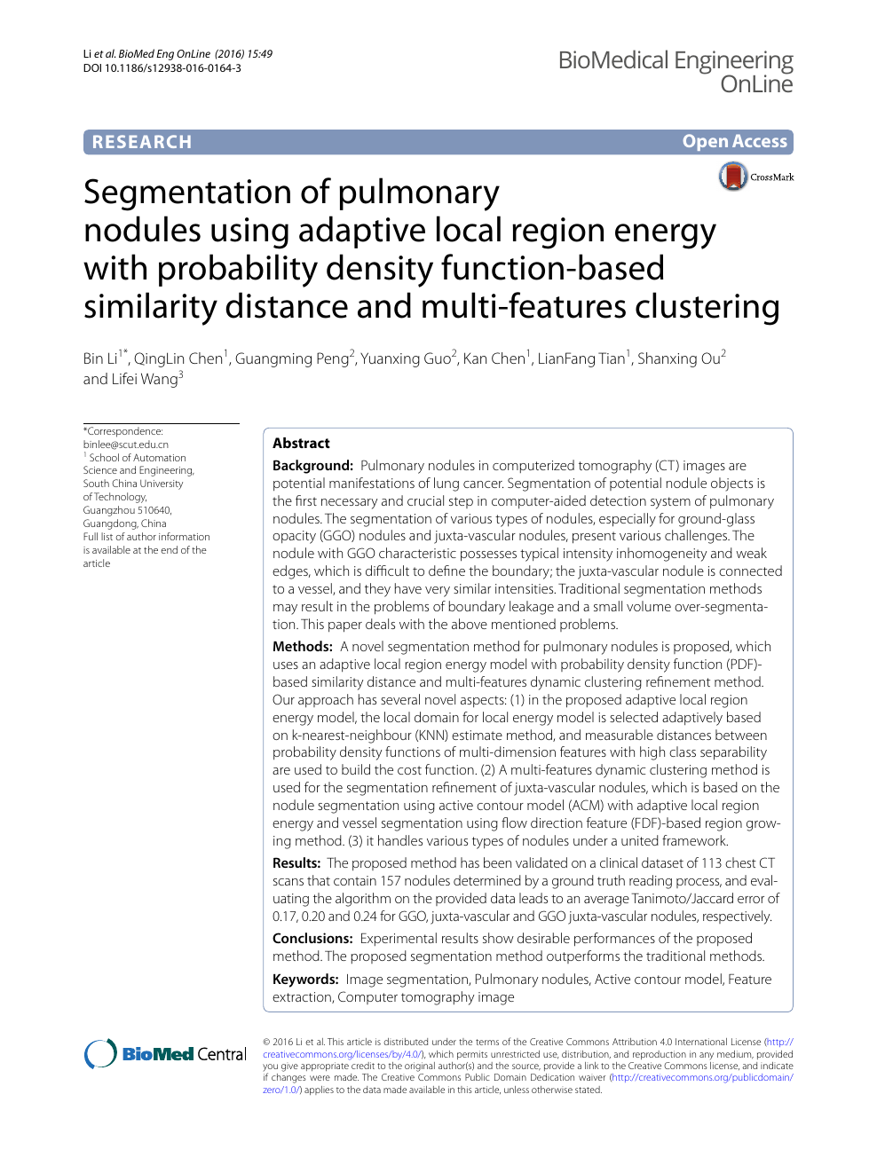 Segmentation of pulmonary nodules using adaptive local