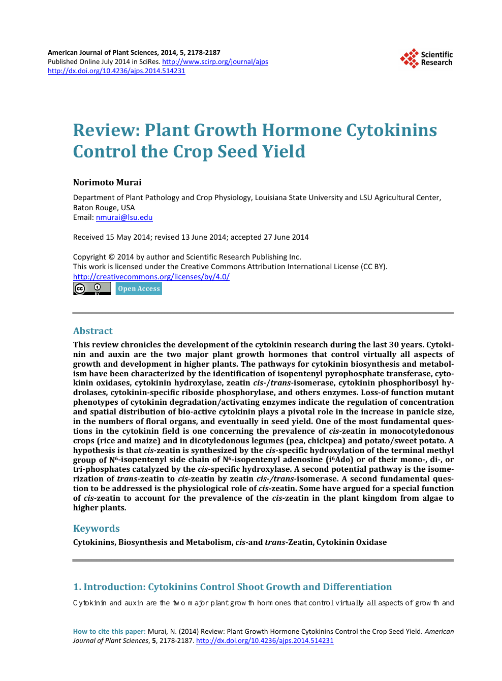 Review: Plant Growth Hormone Cytokinins Control the Crop Seed Yield