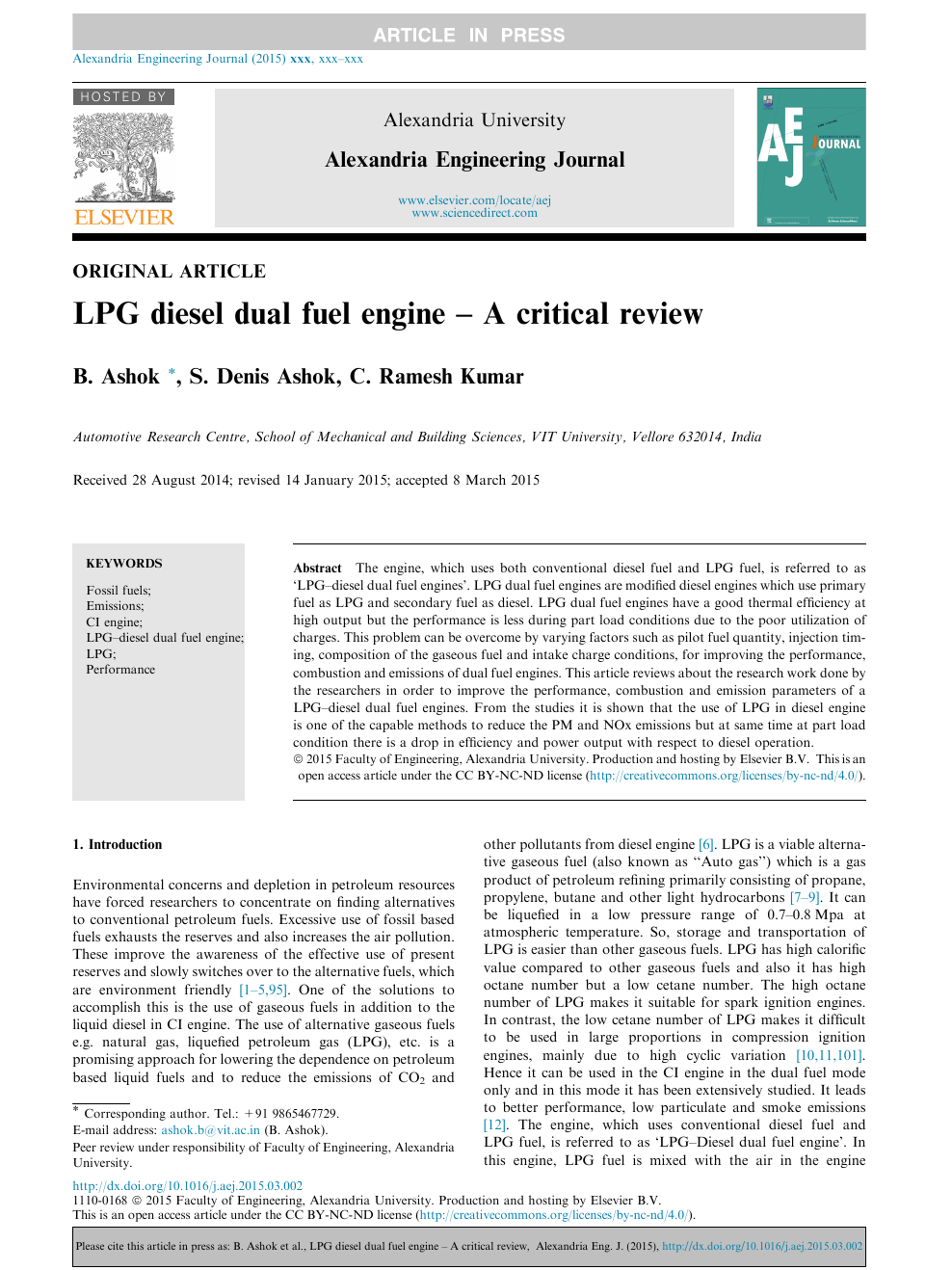 LPG diesel dual fuel engine – A critical review – topic of