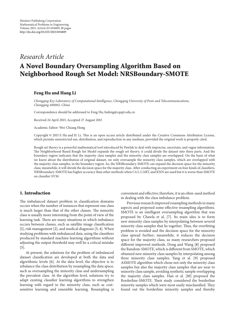 A Novel Boundary Oversampling Algorithm Based on