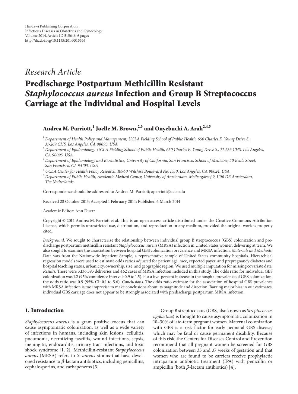 Predischarge Postpartum Methicillin Resistant Staphylococcus aureus