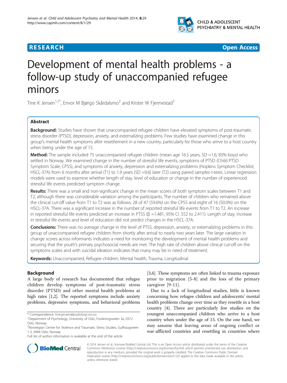 Development of mental health problems - a follow-up study of