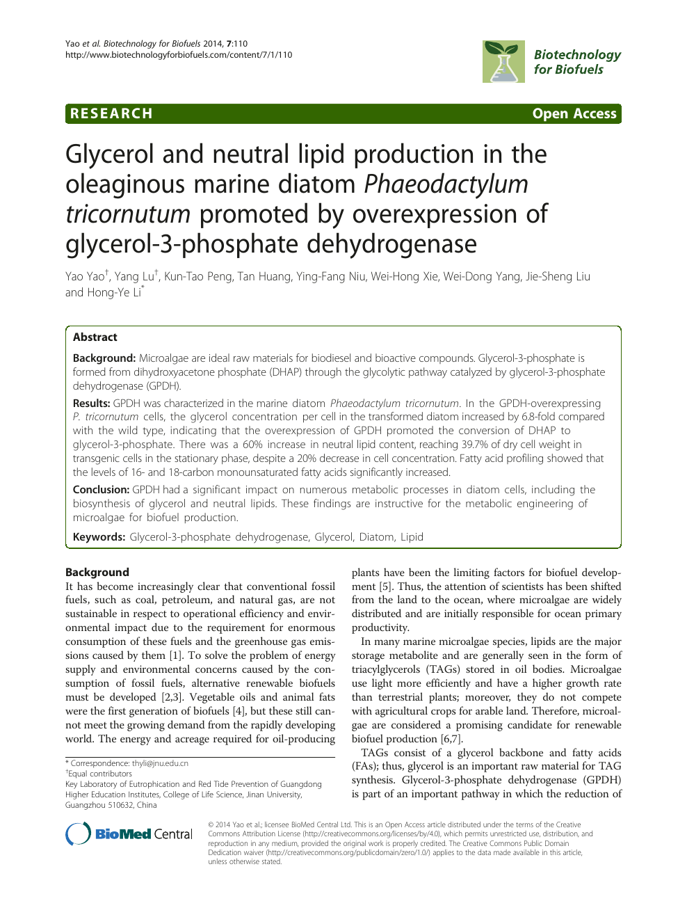 Glycerol and neutral lipid production in the oleaginous