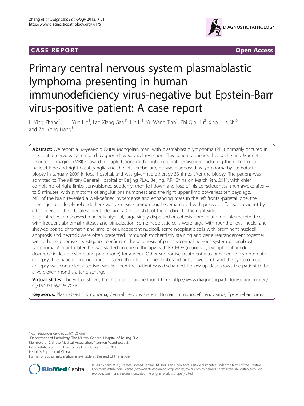 Primary central nervous system plasmablastic lymphoma presenting in