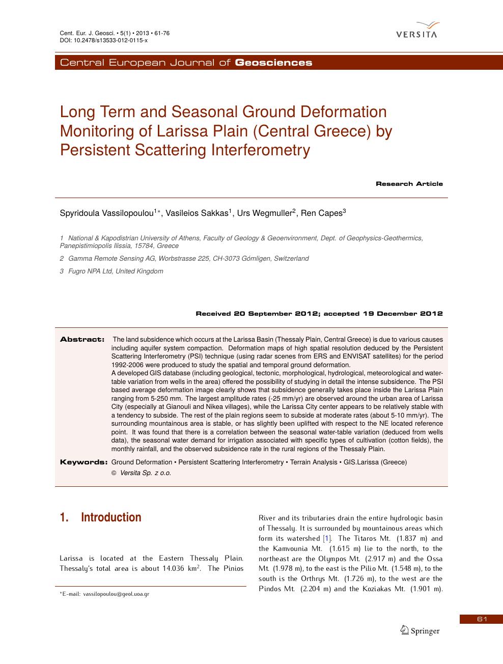 Long term and seasonal ground deformation monitoring of