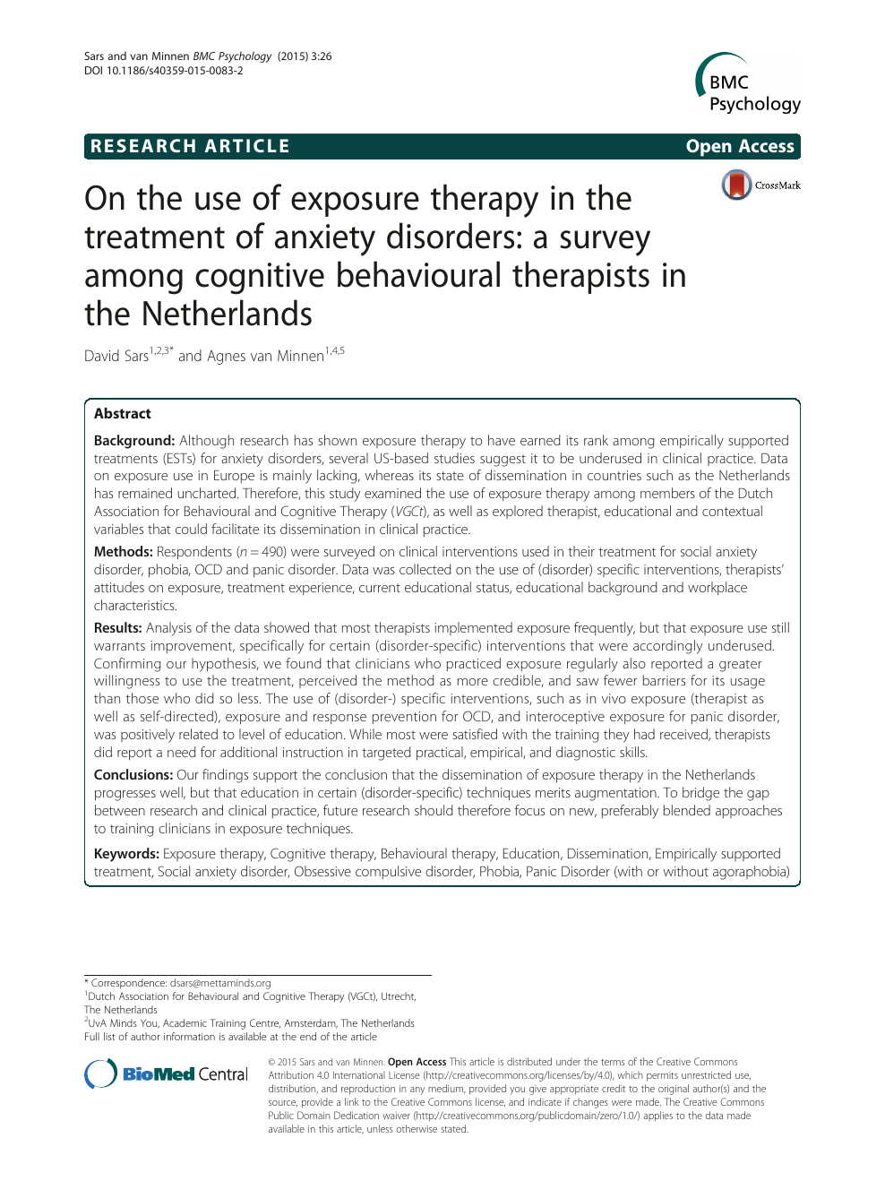 On the use of exposure therapy in the treatment of anxiety