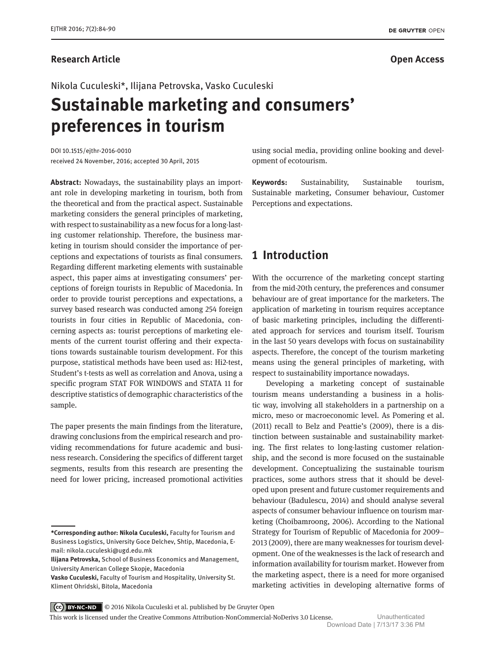 Sustainable marketing and consumers' preferences in tourism – topic