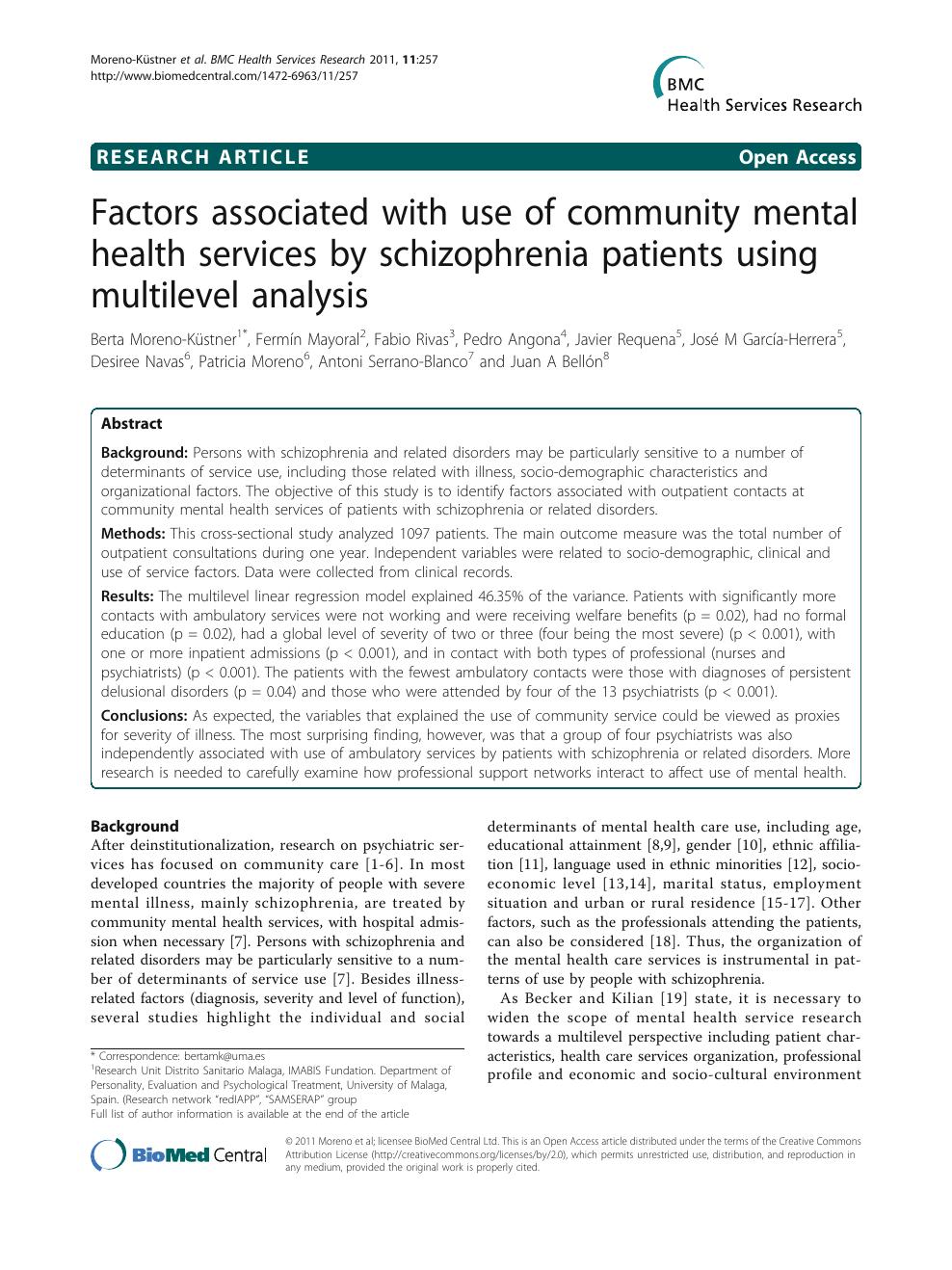 Sanitari Scala Ideal Standard factors associated with use of community mental health