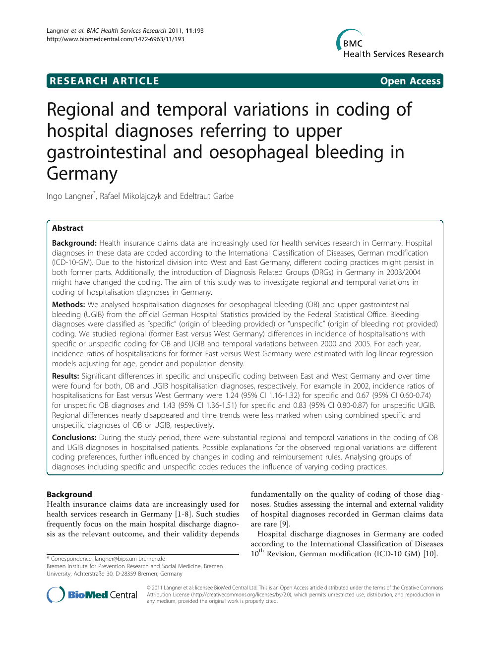 Regional And Temporal Variations In Coding Of Hospital Diagnoses
