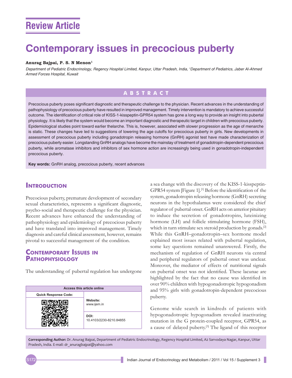 Contemporary issues in precocious puberty – topic of