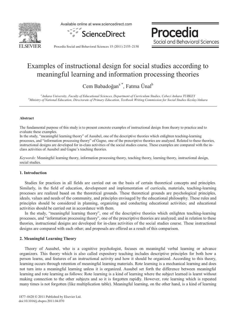 Examples Of Instructional Design For Social Studies According To Meaningful Learning And Information Processing Theories Topic Of Research Paper In Educational Sciences Download Scholarly Article Pdf And Read For Free On
