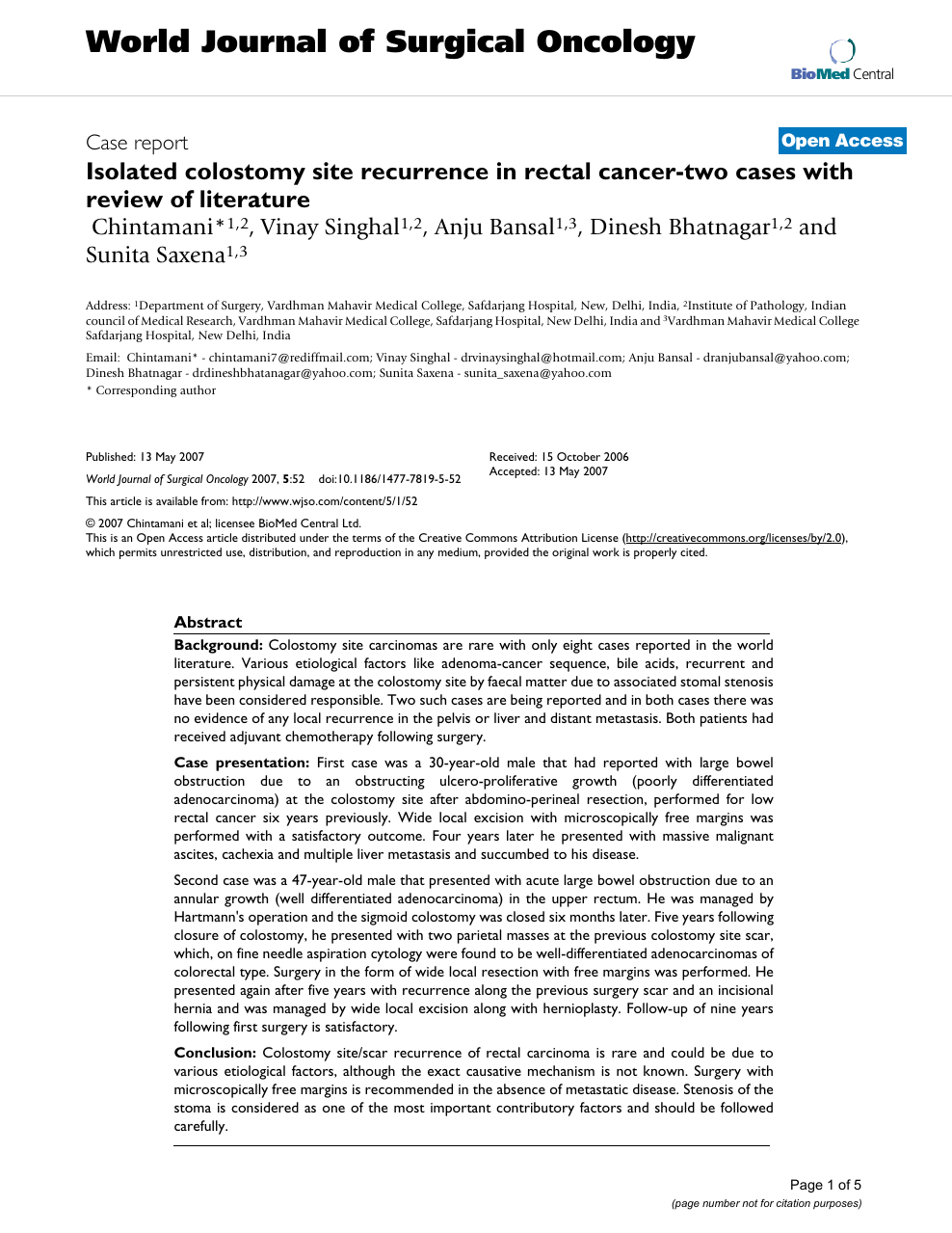 Isolated Colostomy Site Recurrence In Rectal Cancer Two Cases With Review Of Literature Topic Of Research Paper In Clinical Medicine Download Scholarly Article Pdf And Read For Free On Cyberleninka Open Science