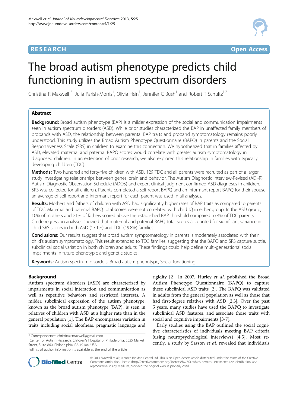 research paper autism