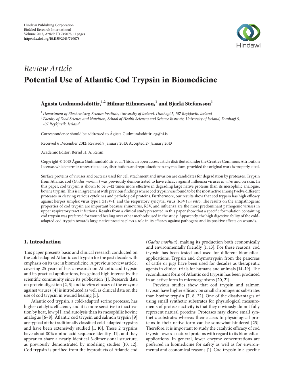 Potential Use of Atlantic Cod Trypsin in Biomedicine – topic
