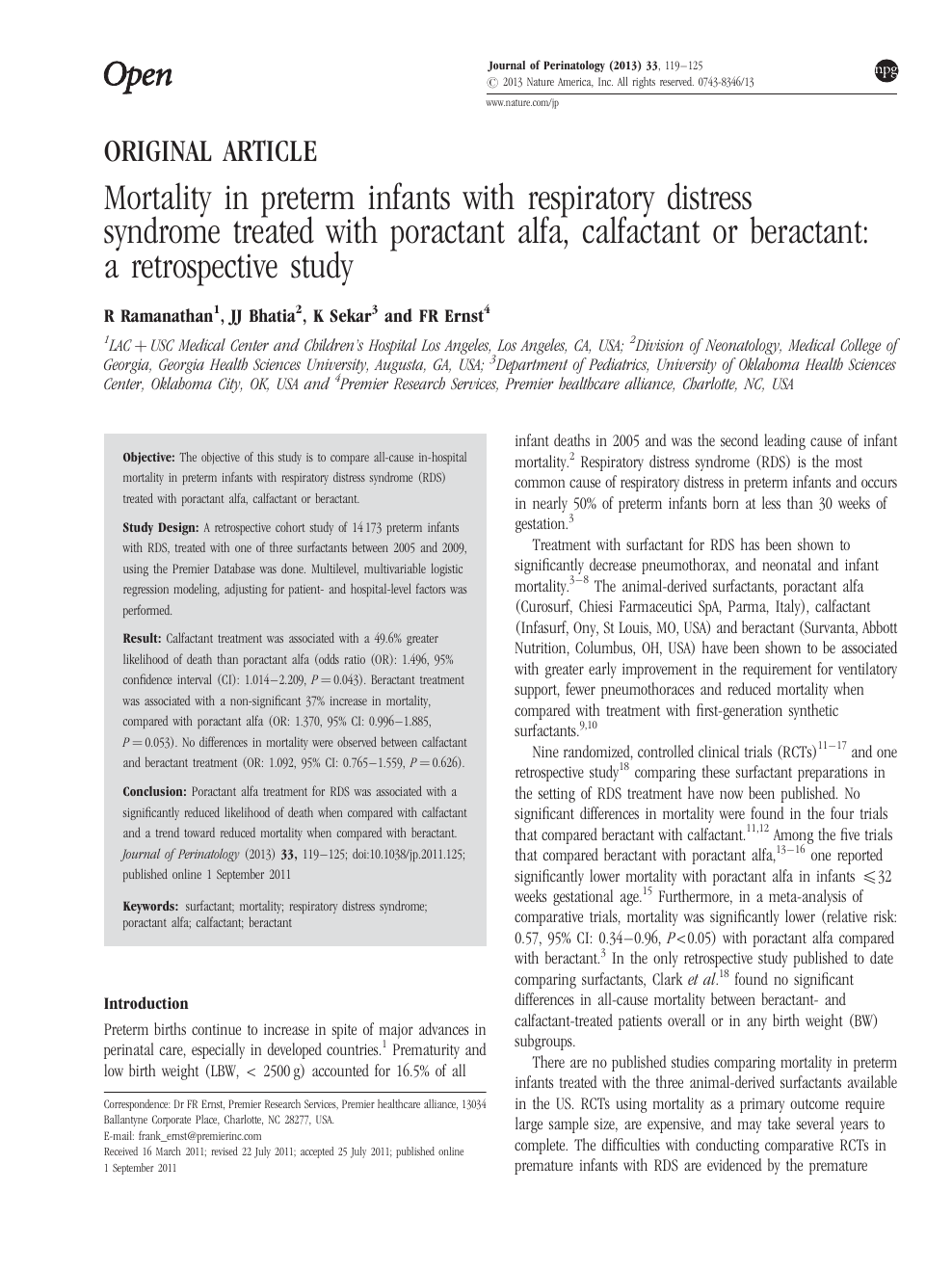 Mortality in preterm infants with respiratory distress syndrome