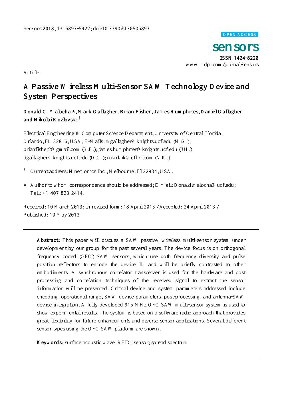 A Passive Wireless Multi-Sensor SAW Technology Device and