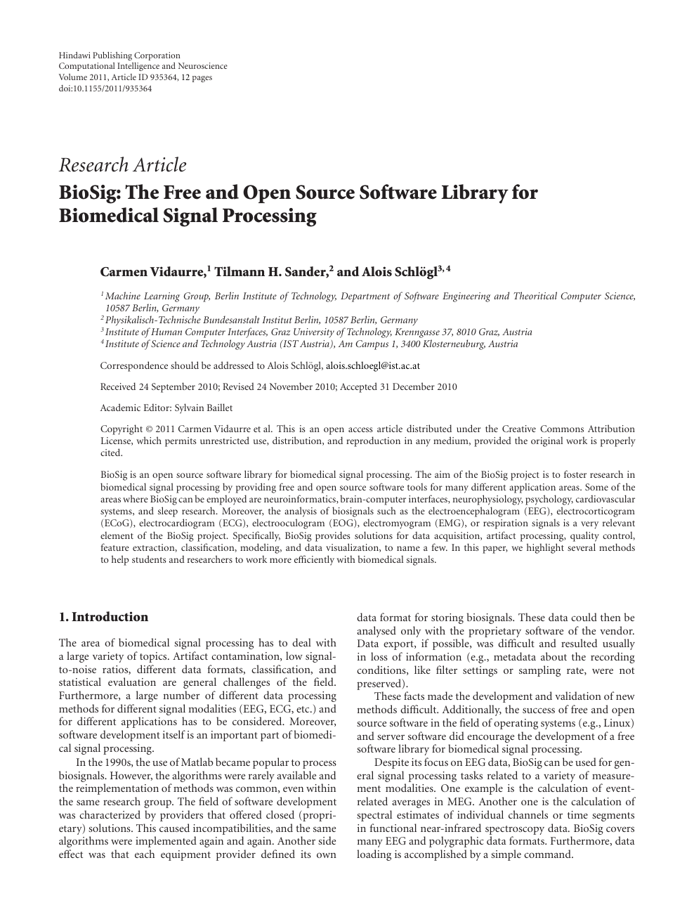 BioSig: The Free and Open Source Software Library for