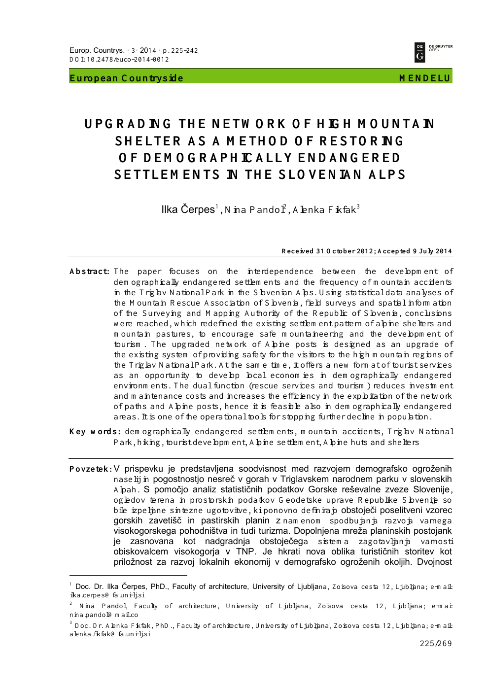 Upgrading the Network of High Mountain Shelter as A Method of