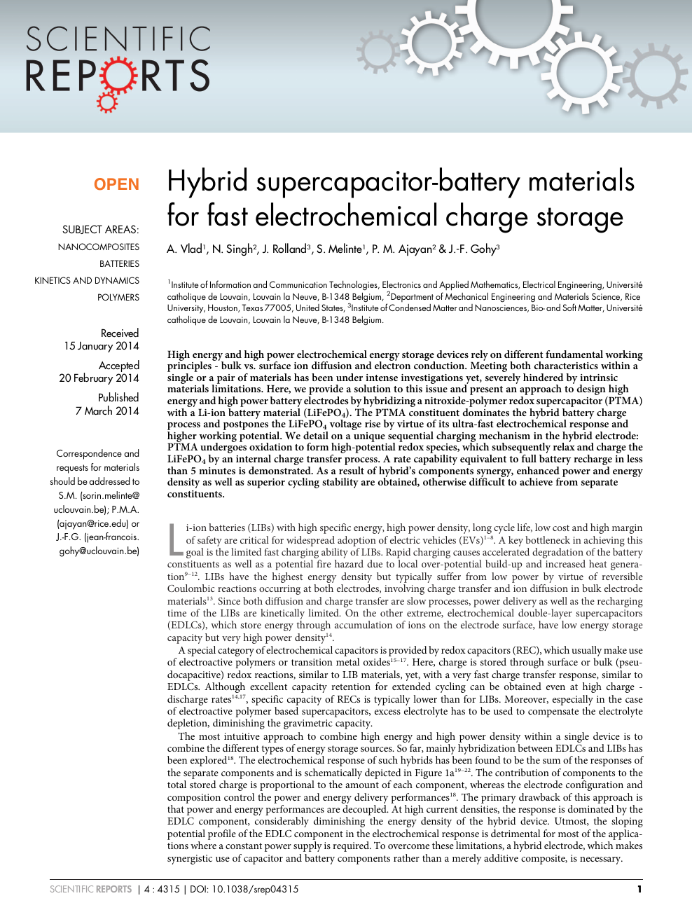 Hybrid supercapacitor-battery materials for fast electrochemical
