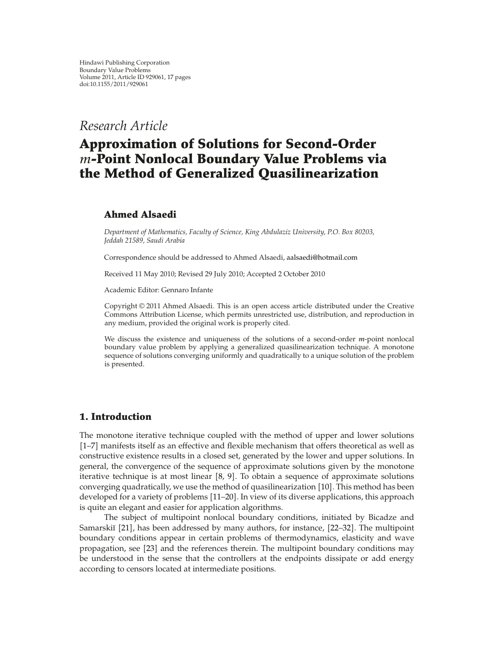 Approximation of Solutions for Second-Order m-Point Nonlocal