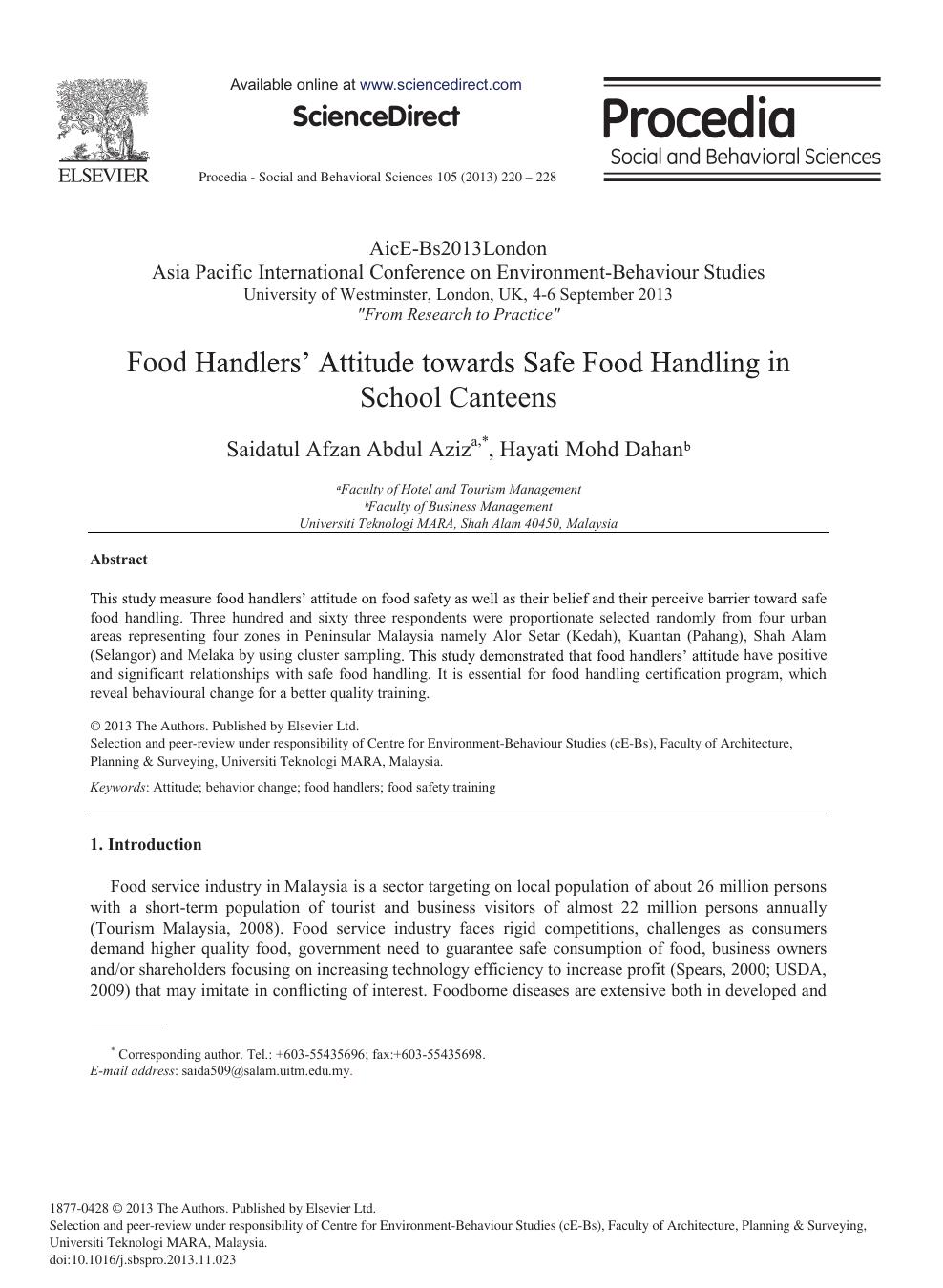 Food Handlers' Attitude towards Safe Food Handling in School