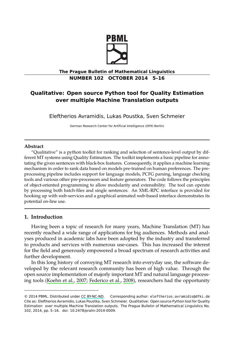 Qualitative: Open Source Python Tool for Quality Estimation over