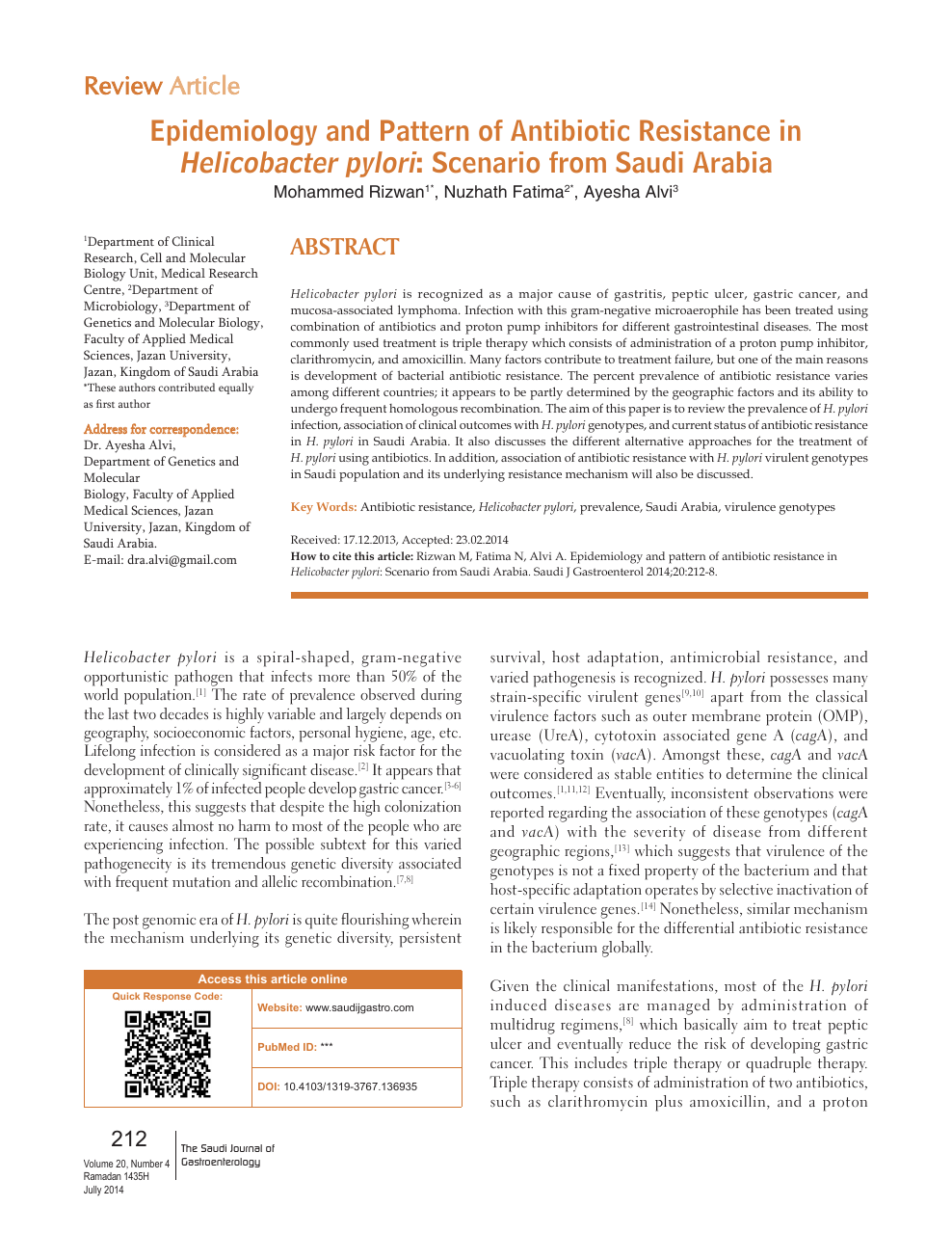 Epidemiology and pattern of antibiotic resistance in Helicobacter pylori:  Scenario from Saudi Arabia – topic of research paper in Clinical medicine.  Download scholarly article PDF and read for free on CyberLeninka open