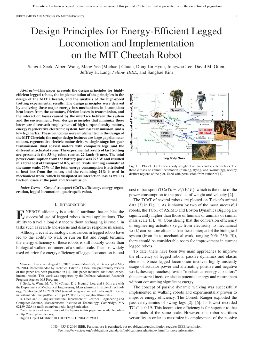 Design Principles For Energy Efficient Legged Locomotion And Implementation On The Mit Cheetah Robot Topic Of Research Paper In Mechanical Engineering Download Scholarly Article Pdf And Read For Free On Cyberleninka Open