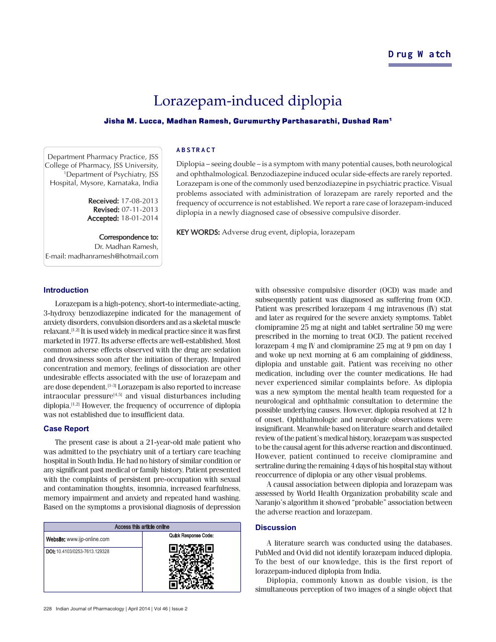 Lorazepam-induced diplopia – topic of research paper in