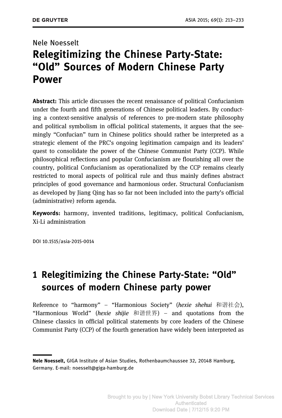 "Relegitimizing the Chinese Party-State: ""Old"" Sources of Modern"