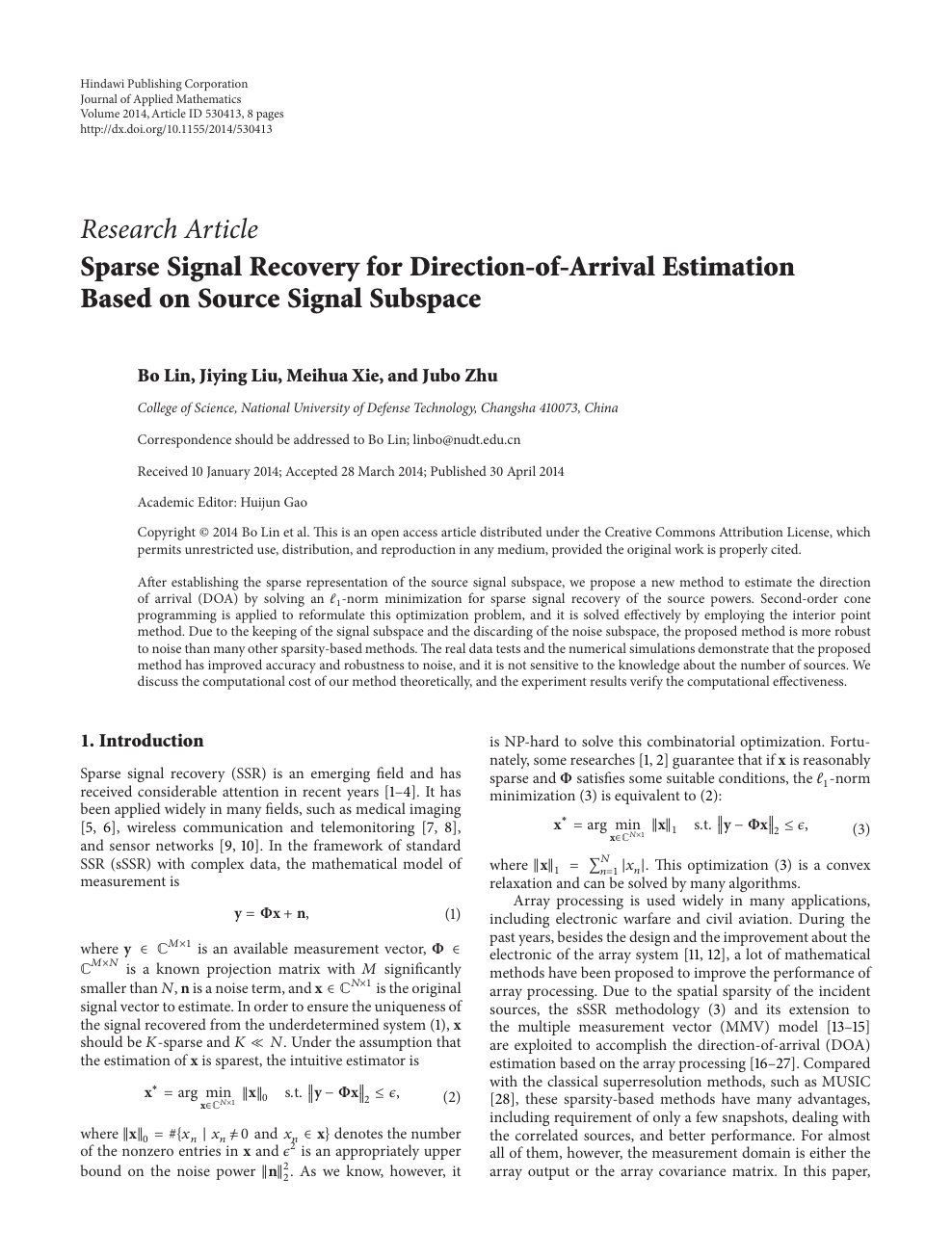 Sparse Signal Recovery for Direction-of-Arrival Estimation