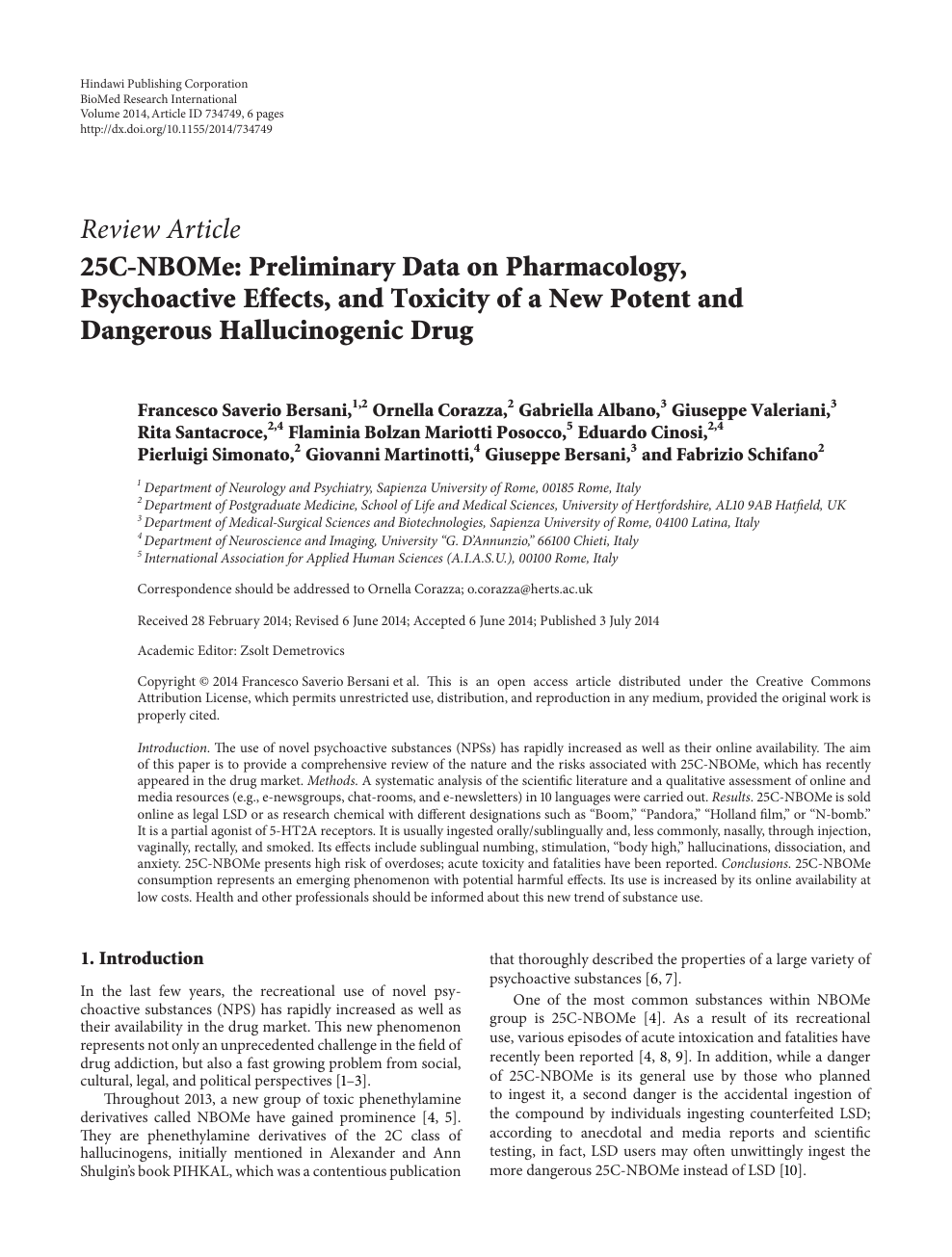 25C-NBOMe: Preliminary Data on Pharmacology, Psychoactive Effects