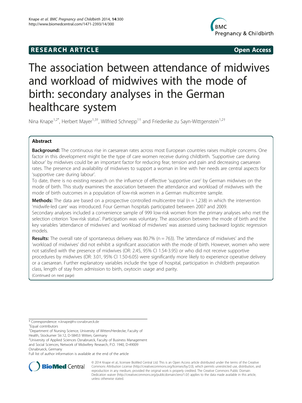 The association between attendance of midwives and workload