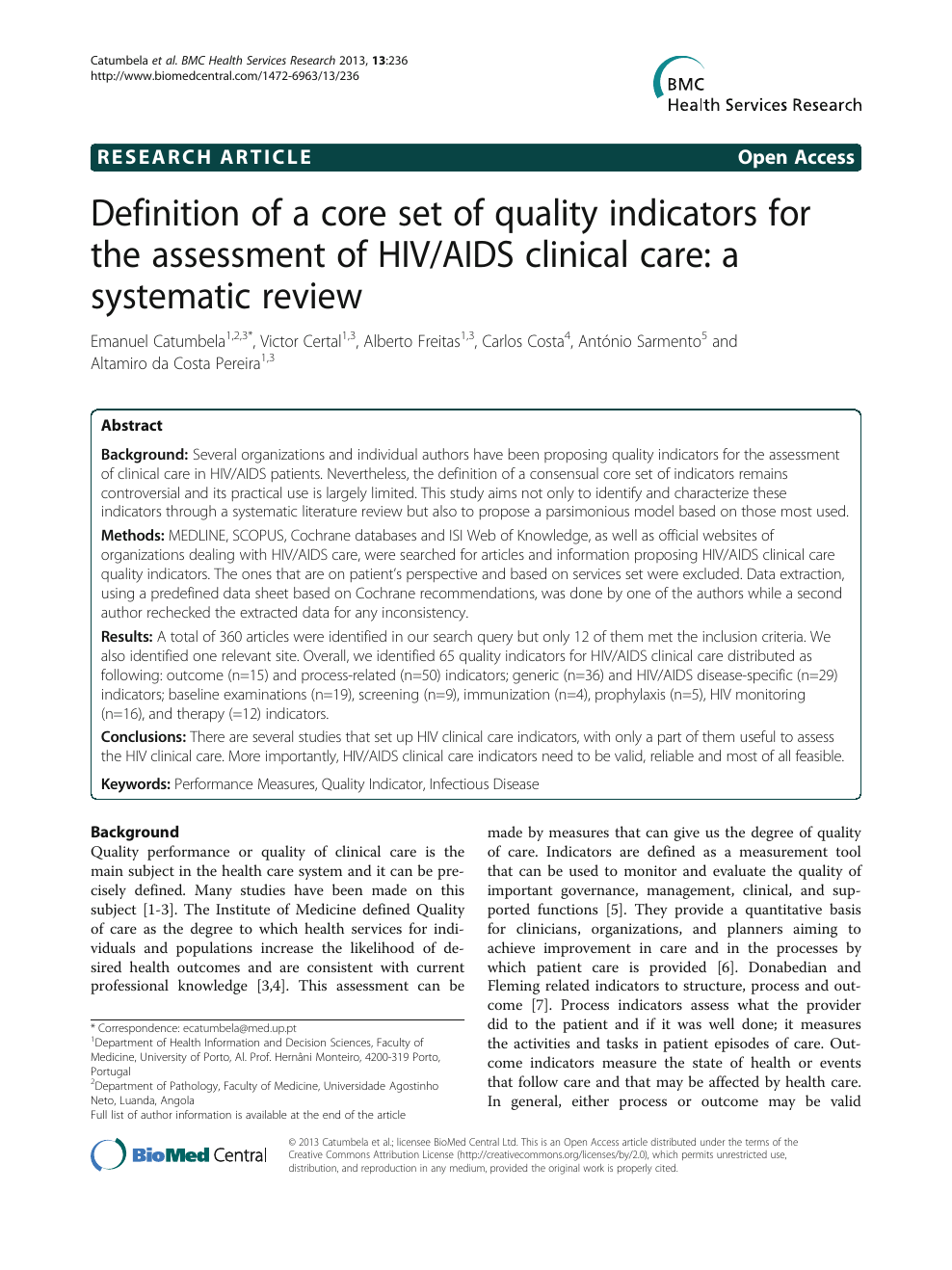 Definition of a core set of quality indicators for the