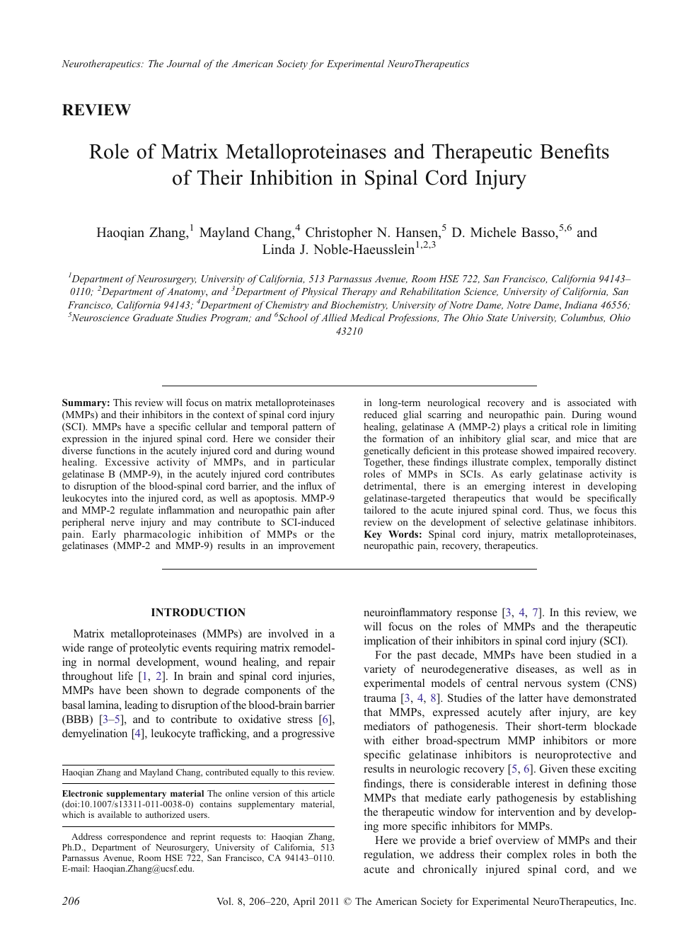 Role of Matrix Metalloproteinases and Therapeutic Benefits