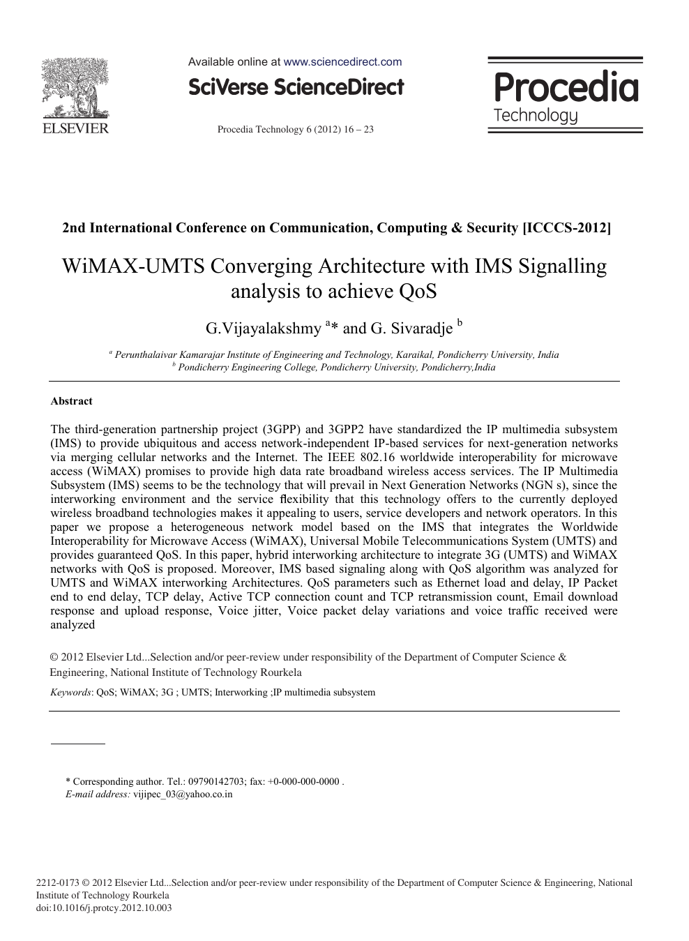 WiMAX-UMTS Converging Architecture with IMS Signalling