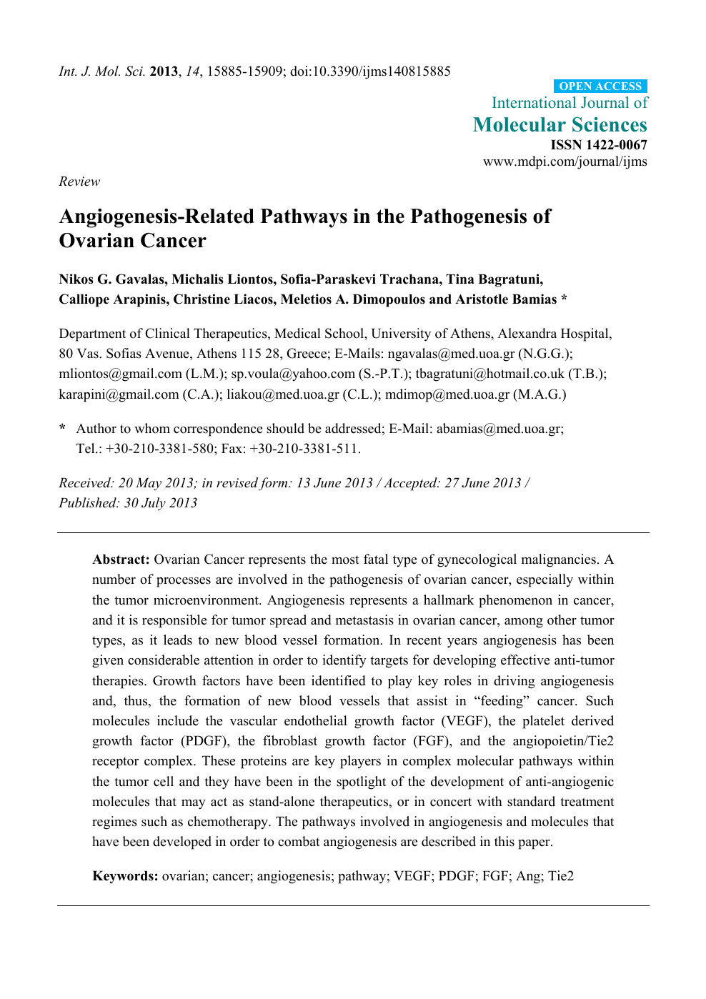 Angiogenesis Related Pathways In The Pathogenesis Of Ovarian Cancer Topic Of Research Paper In Biological Sciences Download Scholarly Article Pdf And Read For Free On Cyberleninka Open Science Hub