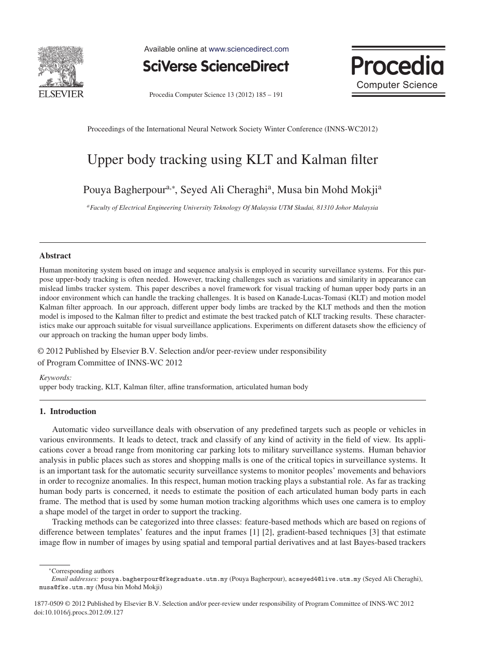 Upper Body Tracking Using KLT and Kalman Filter – topic of
