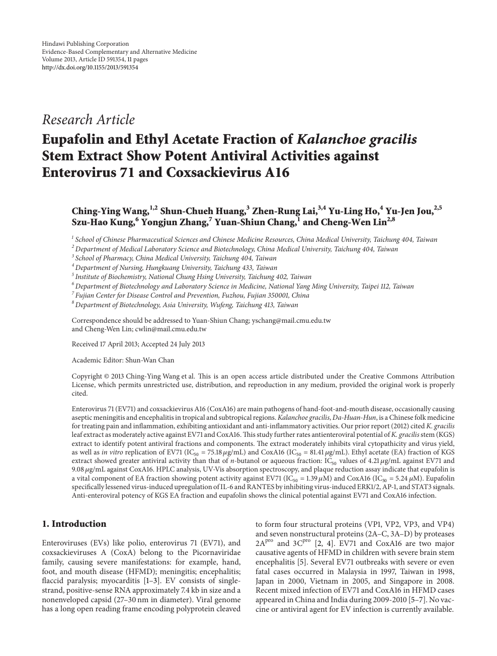 Eupafolin And Ethyl Acetate Fraction Of Kalanchoe Gracilis Stem Extract Show Potent Antiviral Activities Against Enterovirus 71 And Coxsackievirus A16 Topic Of Research Paper In Biological Sciences Download Scholarly Article Pdf