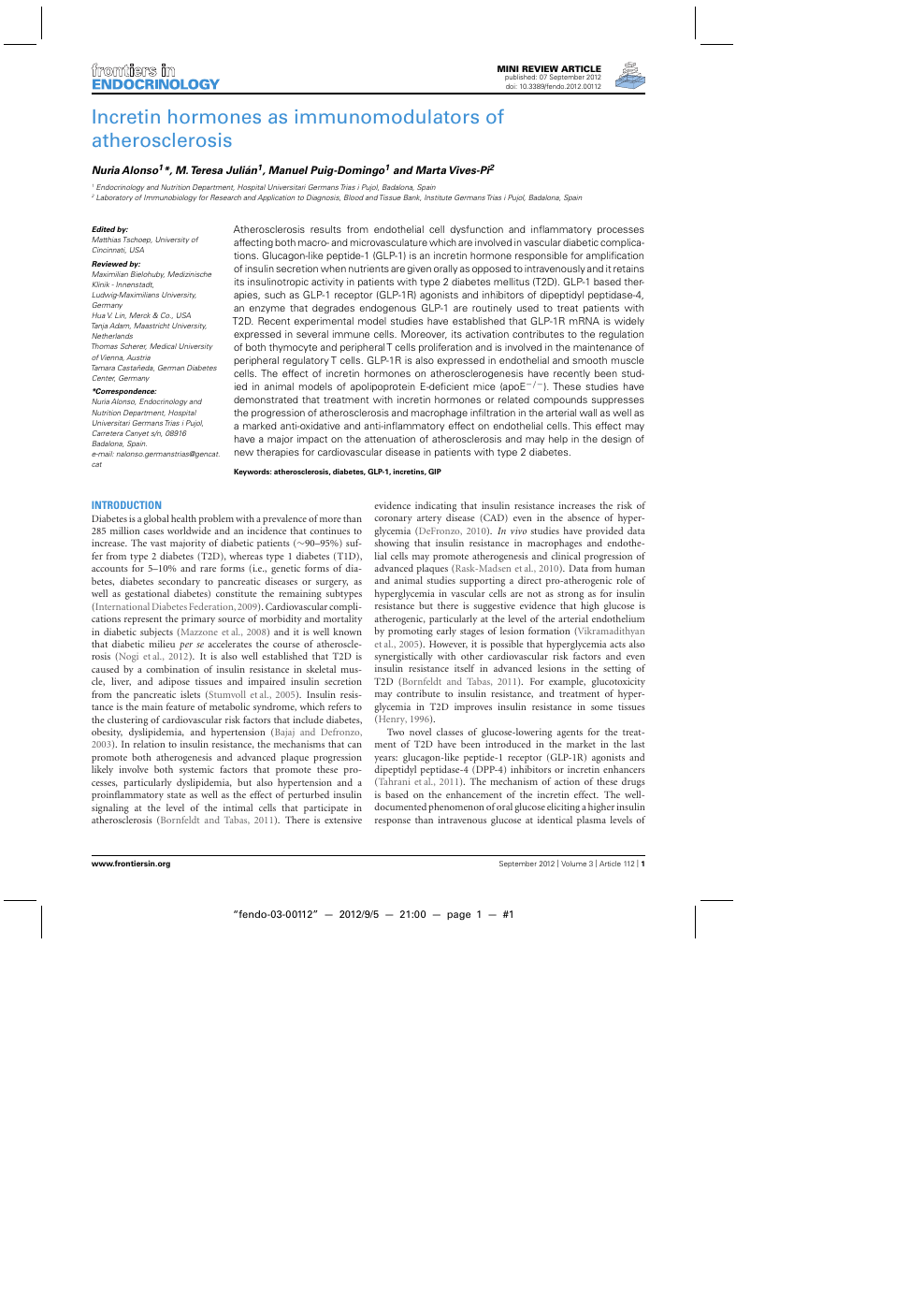 Incretin hormones as immunomodulators of atherosclerosis