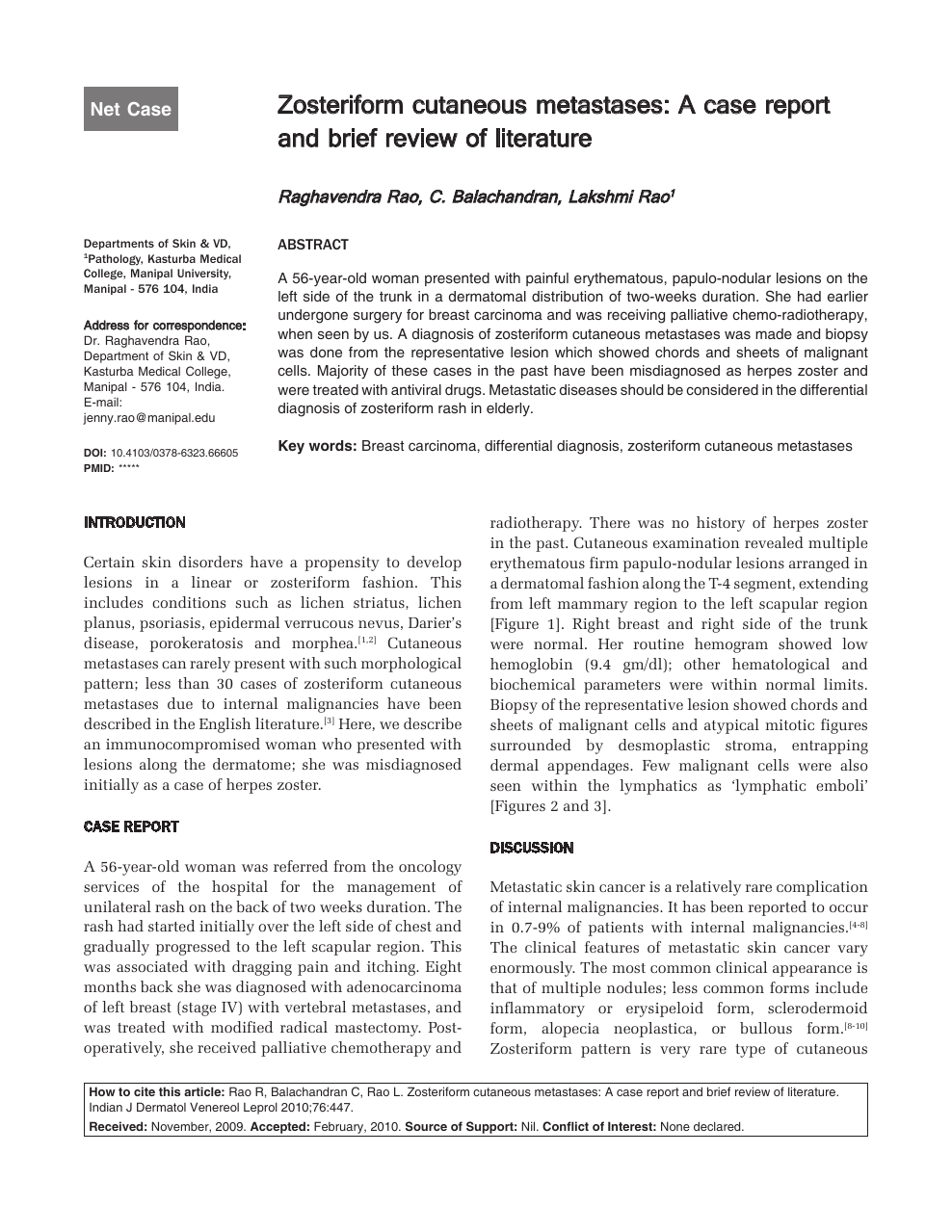 Zosteriform cutaneous metastases: A case report and brief review of
