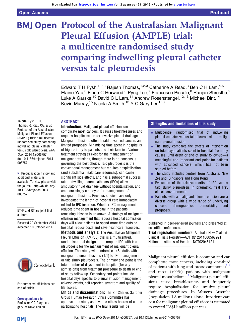 Protocol Of The Australasian Malignant Pleural Effusion Ample Trial A Multicentre Randomised Study Comparing Indwelling Pleural Catheter Versus Talc Pleurodesis Topic Of Research Paper In Clinical Medicine Download Scholarly Article Pdf