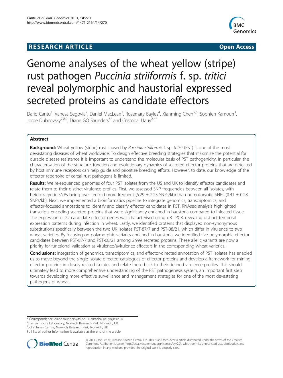 Genome analyses of the wheat yellow (stripe) rust pathogen