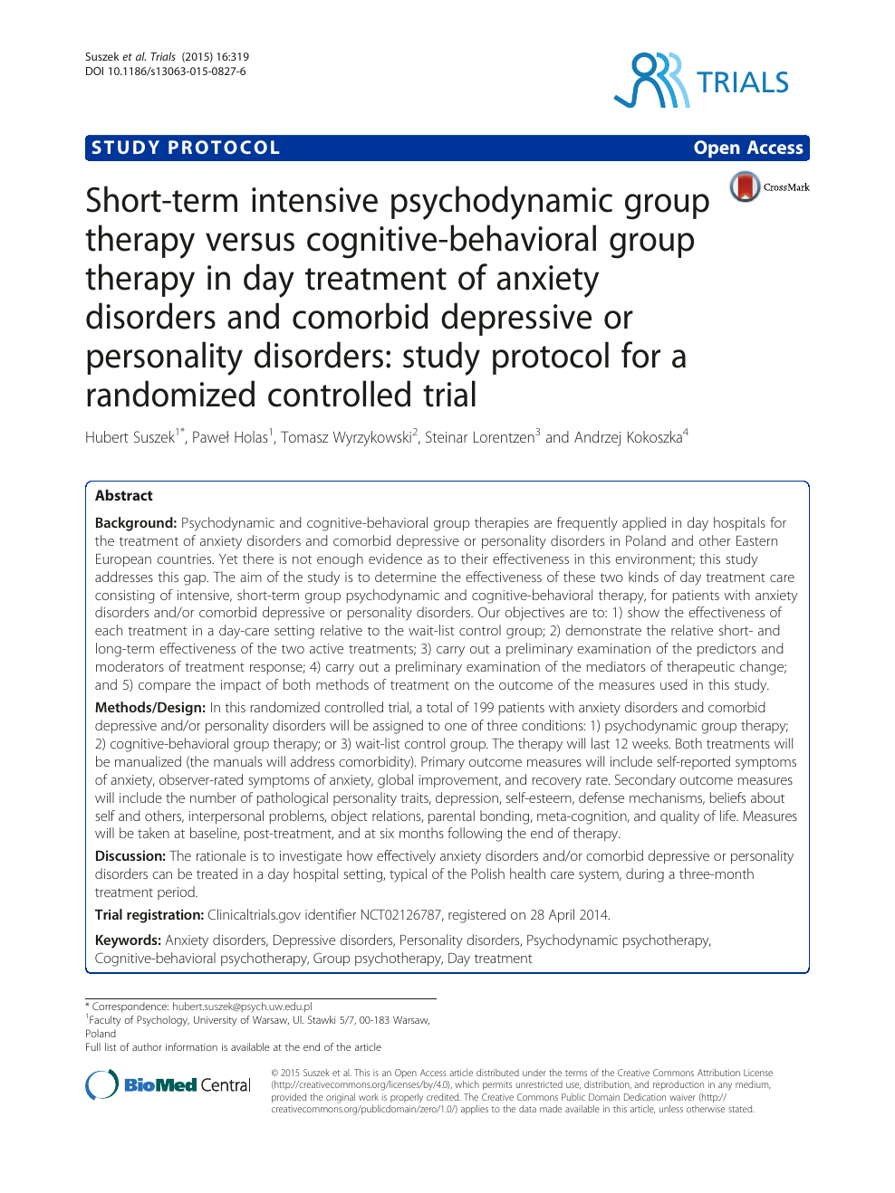 Intensive Cognitive Behavioral Therapy >> Short Term Intensive Psychodynamic Group Therapy Versus Cognitive