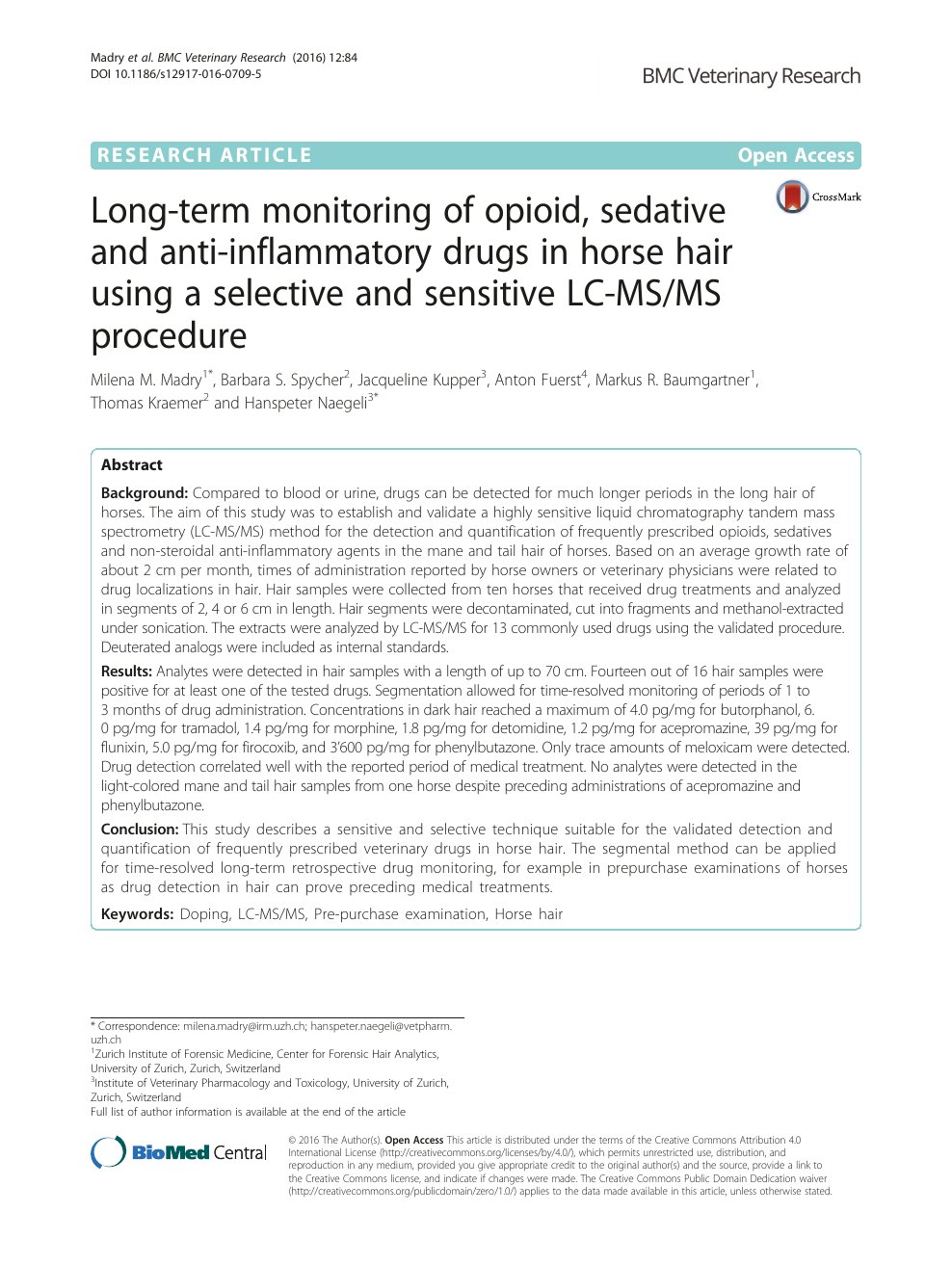 Long-term monitoring of opioid, sedative and anti