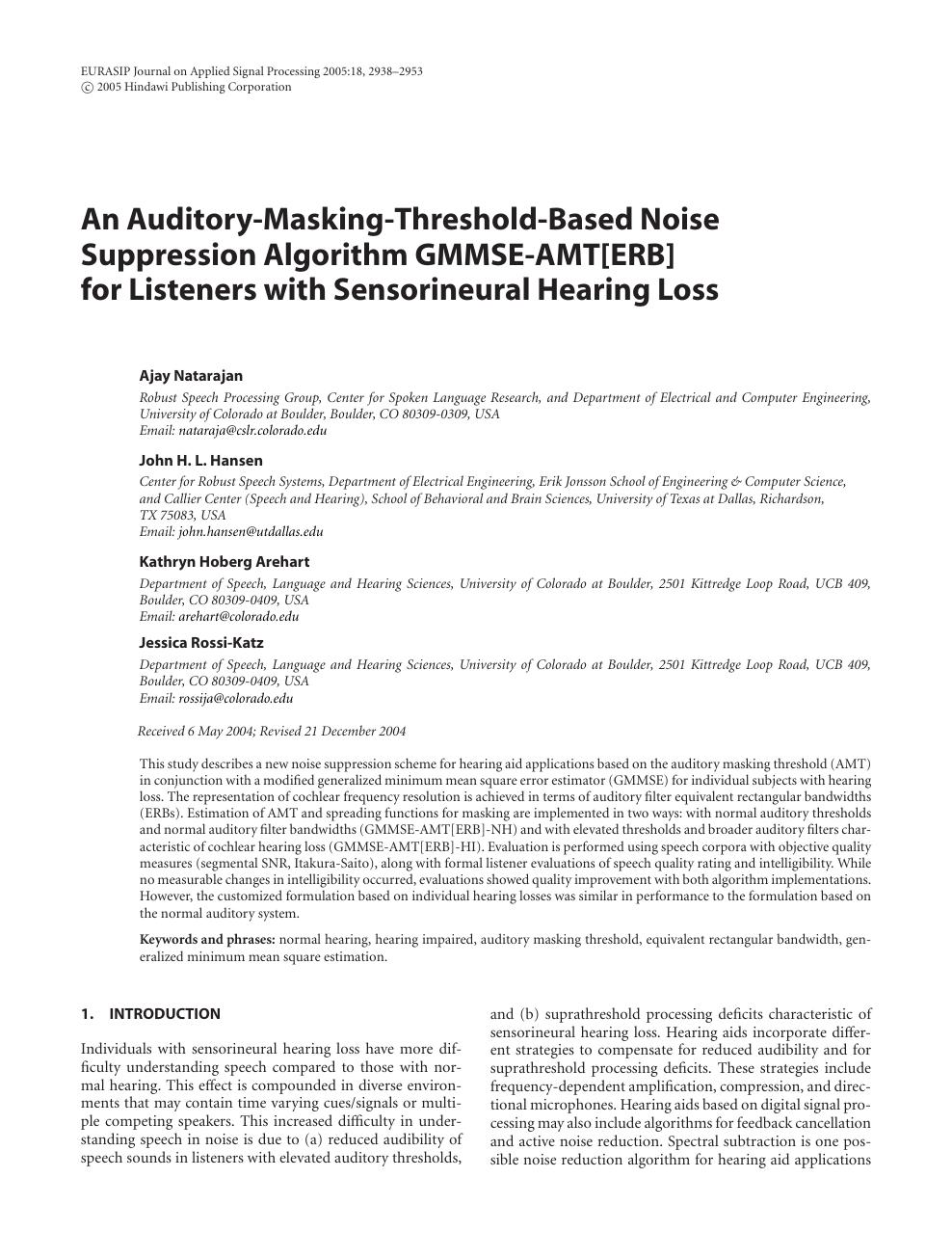 An Auditory-Masking-Threshold-Based Noise Suppression